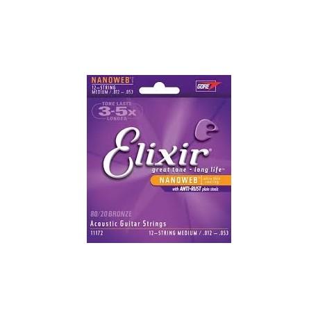 Elixir 11172 Bronze 012-053 Muta 12 Corde Chitarra Folk
